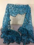 Blue Scarf with Silver Leaf Details